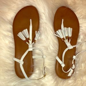 Cute white sandals with tan soles